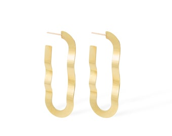 Wavy Oval Ribbon Hoop Earrings | Gold Plated Brass Oblong Hoops