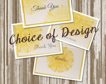Sunny Sunflower Thank You Card Set of 20--CUSTOM PRINTED--Includes Envelopes