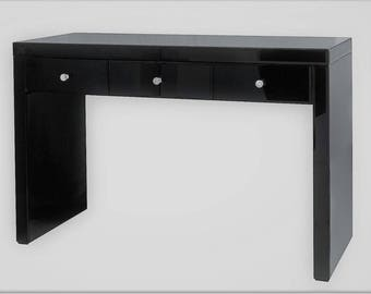 Onyx Black Glass Makeup Vanity Table 3 Spacious Drawers
