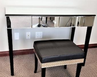 Vanity table Wood Luxurious Mirrored Vanity Makeup Table W Black Wood Legs Etsy Vanity Table Etsy
