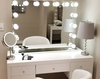 XXL Bluetooth® Hollywod Forever Lighted Vanity Mirror W/ Sliding Dimmer U0026  Dual Outlets