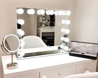 XL Bluetooth® Frameless Hollywood Forever Lighted Vanity Mirror W Dimmer U0026  Dual Outlets