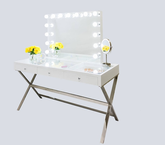 Xx Large Gleaming Gloss White Glass Top Fantasy Makeup Vanity Etsy