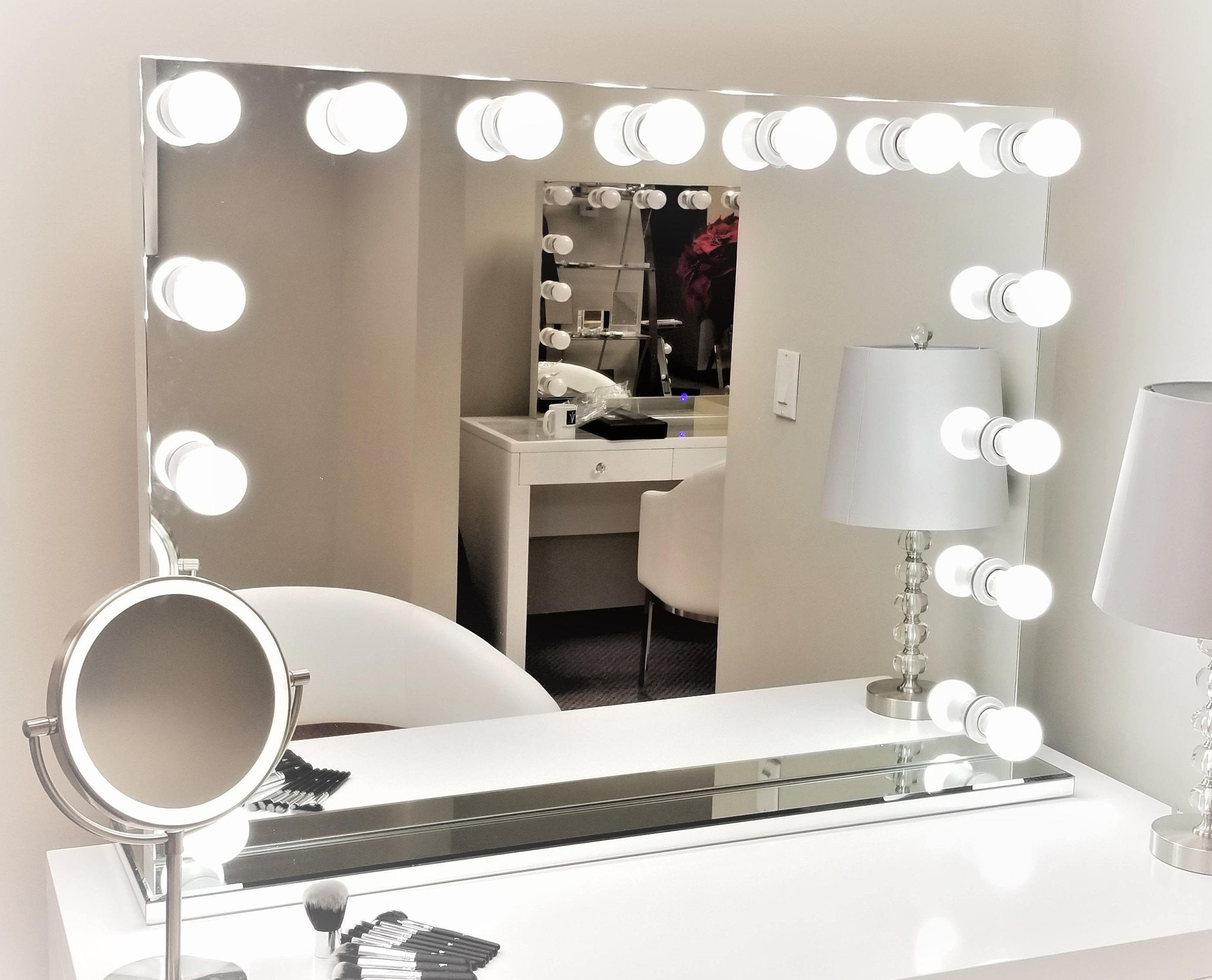 Xxl Dimmable Hollywod Forever Lighted Vanity Mirror Free