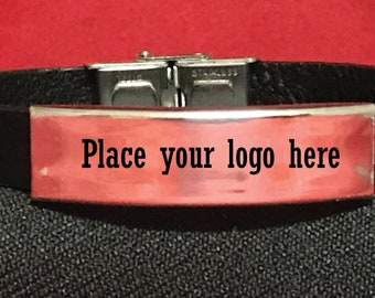Your Logo Here Stainless Steel,Leather  Bracelet Personalized BRAC1003 Laser engraved