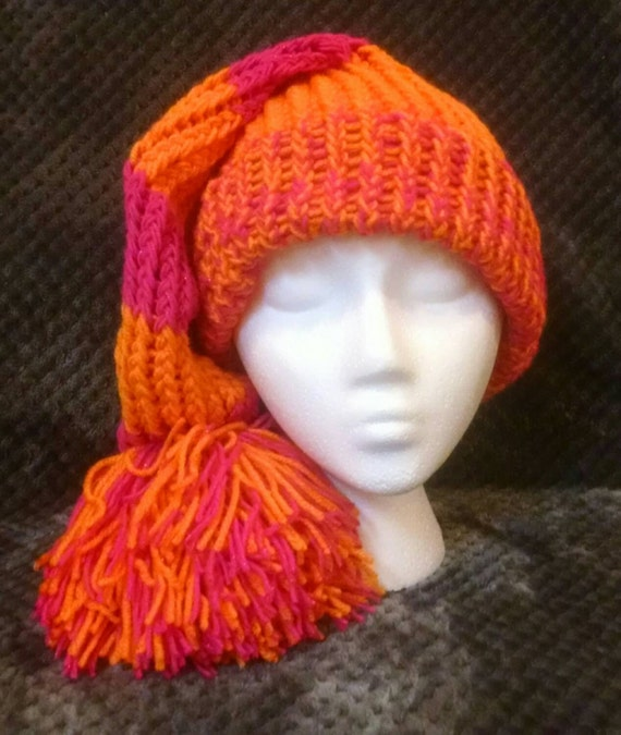 Hot Pink and Orange stocking hat Santa hat made to order hat slouchy hat cc47da15a33