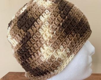 Men's Brown Beanie Men's Brown Hat Brown Camouflage Hat Lightweight Men's Hat Unisex brown hat Gender neutral hat