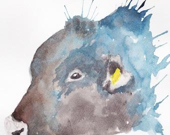 Bull Head Watercolour Print