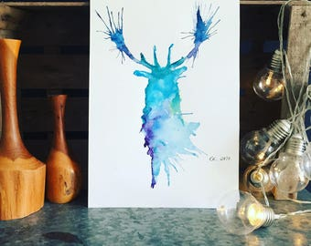 Stag Head Watercolour Print