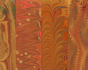 Hand Marbled Paper Set: 4 Sheets 8x11 (Bookbinding Brown)