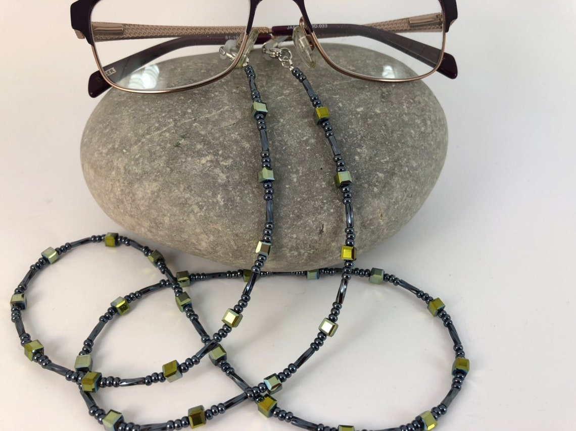 Glasses Chain Seed Beads Gunmetal & Gold Spectacles Holder Office Gift