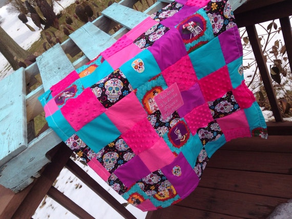 Frida inspired blanket custom embroidery
