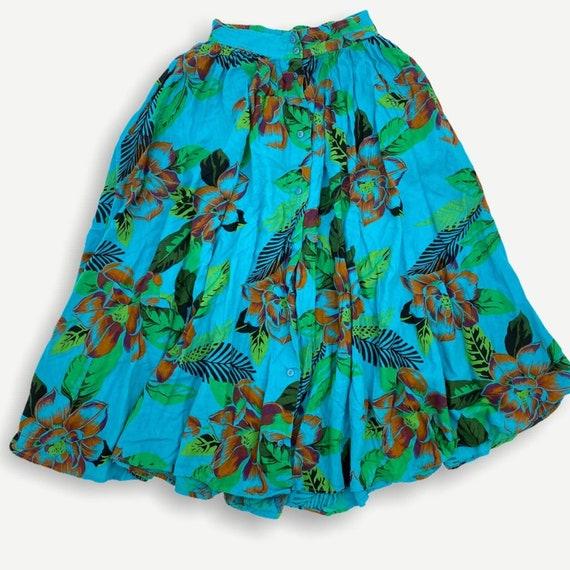 Vintage Hawaiian novelty print button skirt - image 1