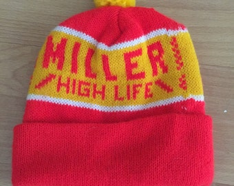 Vintage miller high life beer beanie like new condition party winter hat cap a99fdb13643