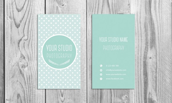 Cute Business Card Template For Photographers Digital Etsy
