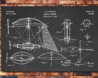 Airship Patent Print Art 1893