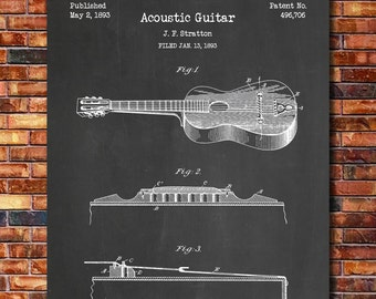 Acoustic Guitar Patent Print Art 1893