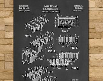 Lego Bricks Patent Print Art 1961