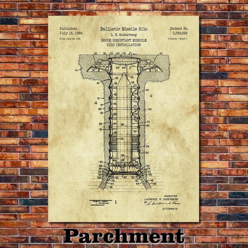 Missile Silo Patent Print Art 1968