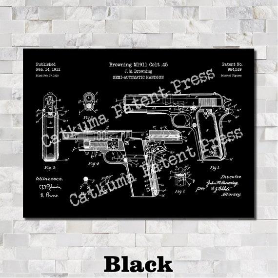 Colt 1911 Gun Patent Print Chalkboard