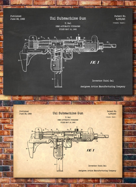 Uzi Patent Print Art 1982 A Etsy Schematic