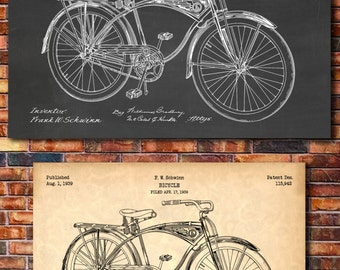 Schwinn Bicycle Patent Print Art 1939