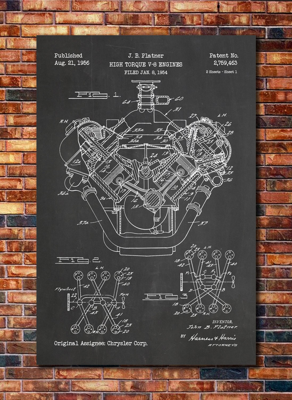 papercraft v8 engine diagram wiring library chrysler v8 engine patent print art 1956