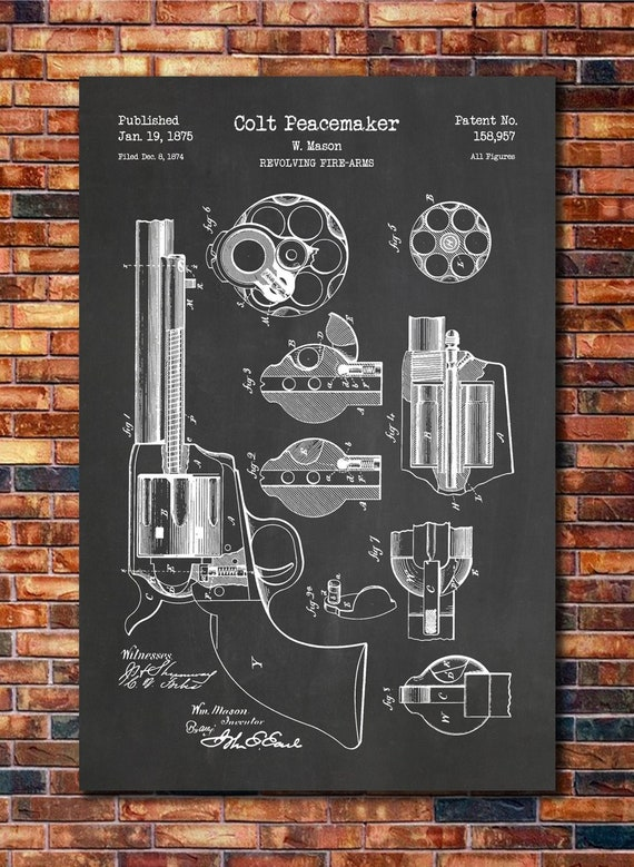 Colt Peacemaker Patent Print Art 1875