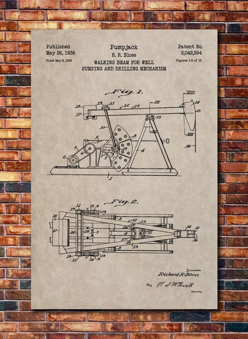 Pumpjack Oil Well Patent Print Art 1936