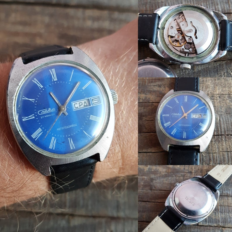 583e1c7728e7 Vintage wrist watches Slava Soviet Watch automatic winding