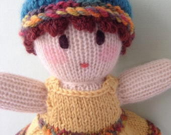 Hand Knitted Doll in a Yellow  Sundress. Australian made Toy.