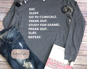 LONG SLEEVE Clinical Shirt, Nursing Student, Xray Student, Med Student