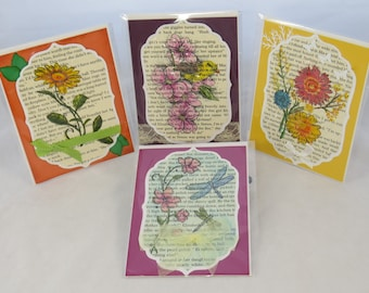 Greeting card set, handstamped cards, set of 4 cards, handmade card set, spring cards, Nature theme cards, OOAK cards, all occasion cards