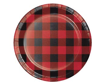 "7"" Buffalo Plaid Plates - Lumberjack Party - Buffalo Plaid Baby - Woodland Baby Shower - Baby Lumberjack - Bear Baby Shower - Flannel - Set"