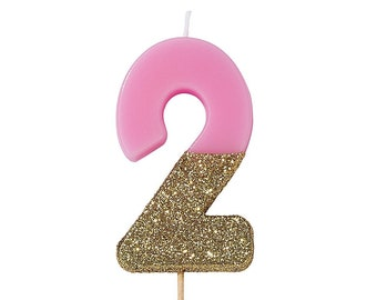 Pink 2nd Birthday Candle