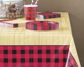 Lumberjack Tablecloth   Wood Grain Tablecloth, Lumberjack Party Table  Cover, Lumberjack First Birthday, Lumberjack Baby Shower, Red Plaid