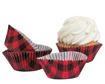 100 Buffalo Plaid Cupcake Liners - Lumberjack First Birthday, Lumberjack Baby Shower, I Do BBQ, Buffalo Plaid Baby Shower, Cupcake Wrappers