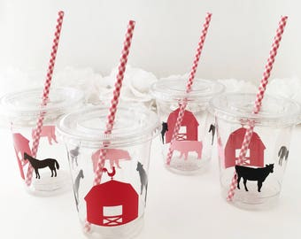 Farm Party Cups - Farm Birthday - Barn Party - Farm Treat Cups - Cowboy Baby Shower - Barn Birthday - Horse Party - Barnyard Birthday Favors