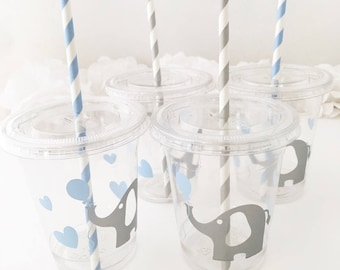 Elephant Cups -  Elephant Baby Shower - Elephant Birthday Favors - Elephant Baby Shower Cups - Zoo Animals First Birthday - Circus Birthday
