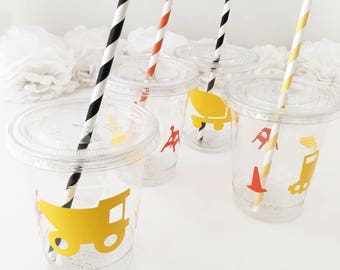 Construction Cups - Construction Party Favors, Construction Baby Shower, Excavator, Digger Birthday, Under Construction Birthday Party Cups