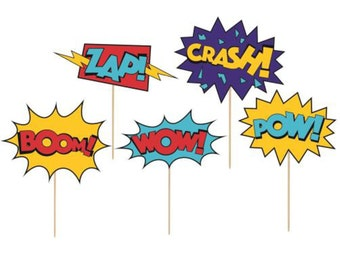Superhero Cupcake Toppers - Superhero Party Decoration, Superhero Cake Topper, Comic Book Party, Superhero Party Supplies, Party Favor Picks