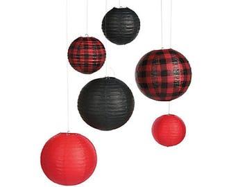 Buffalo Plaid Paper Lanterns - Lumberjack First Birthday, Paper Lanterns, Baby, I Do BBQ Party Decor, Buffalo Plaid Decorations, Party Decor