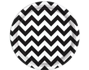 Black Chevron Plates - Halloween Party - Paper Plates - Party Supplies - Tableware - Party Decor - Birthday Ideas - BBQ Party Plates - Set  sc 1 st  Etsy : black and white chevron paper plates - pezcame.com