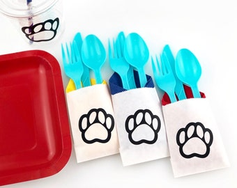 Cutlery Bags - Dog Party Supplies, Puppy Party, Paw Party, Puppy Birthday, Dog Birthday, Paw Print Party, Dog Shower, Paw Birthday Party