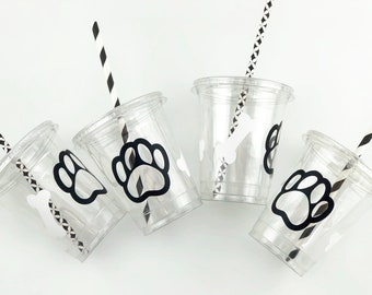 Dog Party Cups - Dog Birthday Party, Dog Cups, Paw Cups, Dog Shower, Puppy Party Supplies, Paw Birthday, Dog Party Supplies, Puppy Birthday