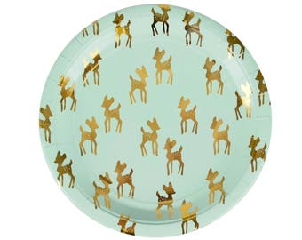 Little Deer Plates - Fawn Party Boho Baby Shower Buck or Doe Woodland Baby Shower Deer Party Supplies Deer Antlers Party Mint and Gold  sc 1 st  Etsy : reindeer silhouette dinnerware - pezcame.com