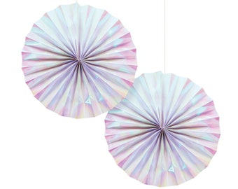 Iridescent Paper Fans - Iridescent Party Supplies, Mermaid Party, Unicorn Party Decoration, Mermaid Birthday, Iridescent Party Decorations