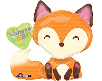 "36"" Fox Balloon - Woodland Animals Baby Shower - Fox Baby Shower - Party Balloons - Mylar Balloons - Woodland Creature - Woodland Critters"