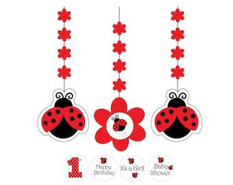 Ladybug Party Decorations - Ladybug Birthday Decorations - Ladybug Banner - Ladybug Baby Shower - Party Supplies - Bug Party Decorations