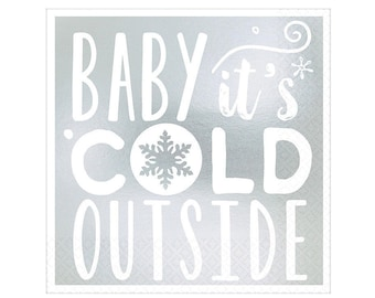 Baby it's Cold Outside Napkins - Winter Wonderland Baby Shower, Snowflake Party, Winter Onederland First Birthday, Snowflake Gender Reveal